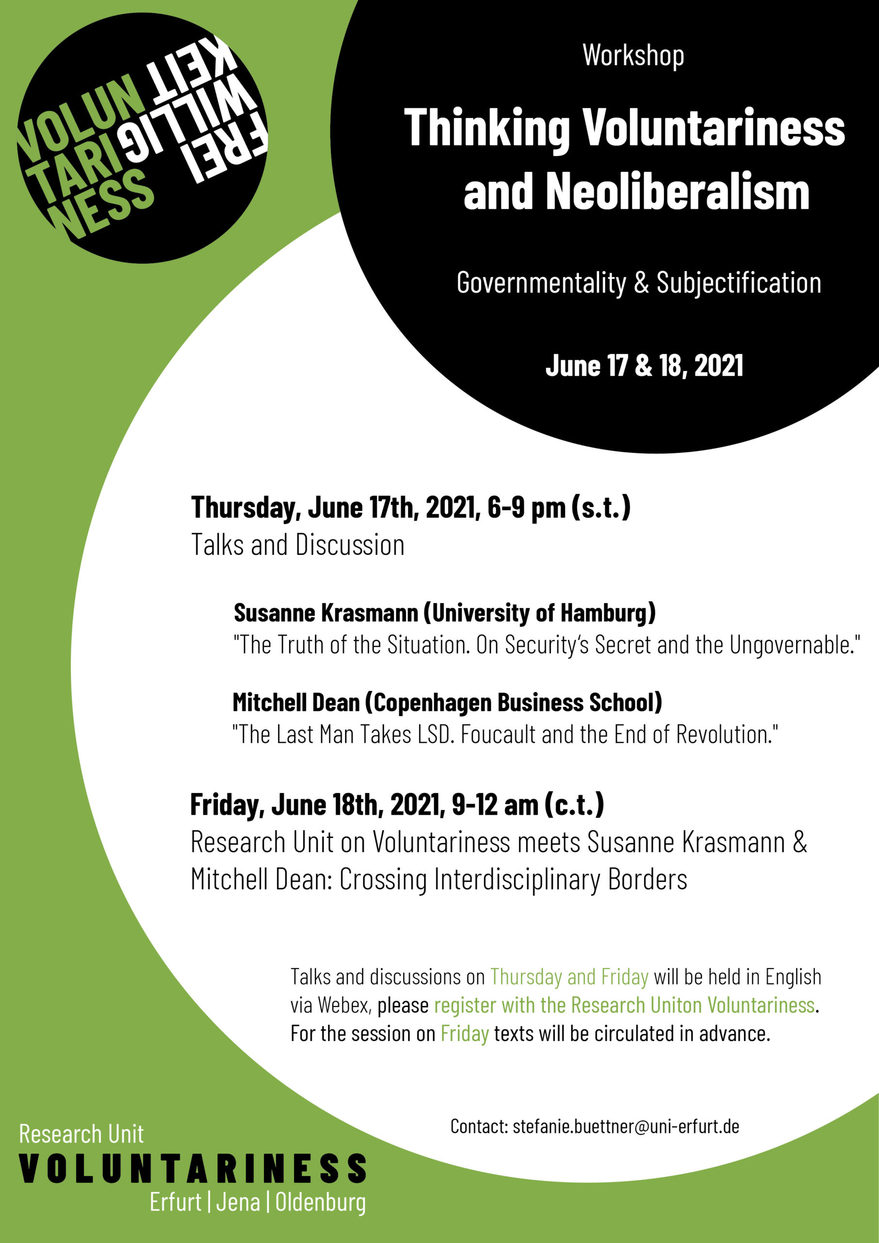 Outline Workshop Thinking Voluntariness and Neoliberalism
