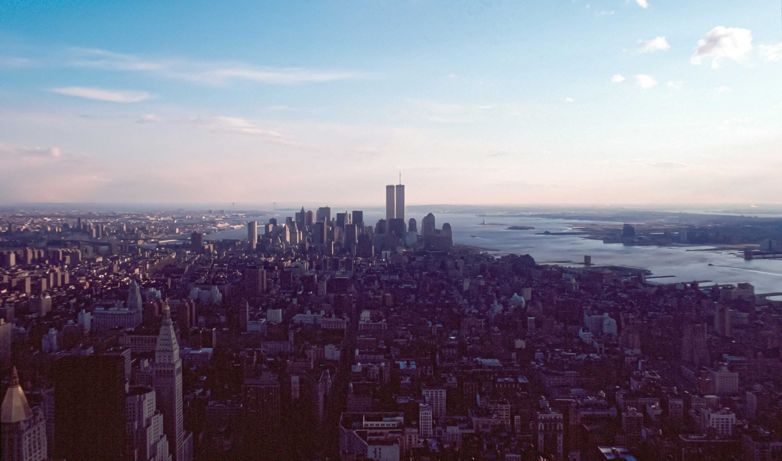 aerial view of new york city and the world trade center